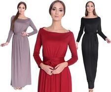 Kleid Lang Maxi Kleid mit Schleife Gr. 34 36 38 40 42 44 46, 8193