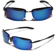 Rectangle Rimless Black Metal Frame Aviator Sunglasses Blue Mirror lens