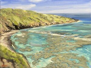 "Abbott Oil Stretch Canvas 18""x24"" Hanauma Bay Cliff View Of Coral, O'ahu Hawaii"