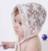 Baby Girl Princess Beige Lace Bow Embroidery Bonnet Beanie Summer Sun Hat Cap