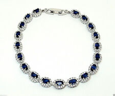 RHODIUM PLATED 925 HALLMARKED SILVER OVAL BLUE SAPPHIRE HALO BRACELET 7.5 INCHES
