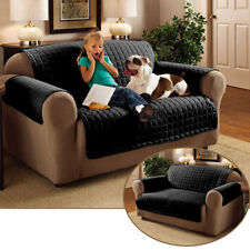 2 Seater Black Quilted Sofa / Settee Furniture Protector Cover Throw