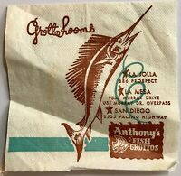Vintage Anthony's Fish Grotto Seafood Restaurant Napkin Map  San Diego CA 1974