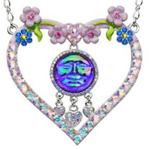 Kirks Folly Seaview Water Moon Lots of Love Necklace Silvertone & Pink