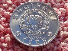 Unc Albania 1988 1 Lek aluminum People Socialist Republic coat of arms