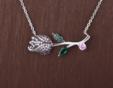 TULIP EMERALD TOPAZ .925 SOLID STERLING SILVER NECKLACE #21408