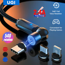 2.4A Magnetic USB Charger Cable Type C Micro Android IOS 360º+180º Rotation Cord