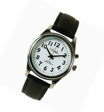 Precision Ladies Black Leather Talking Atomic Watch Crystal Clear Voice, Lifemax