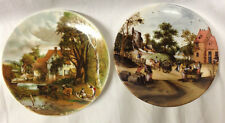 "POOLE POTTERY DORSET ENGLAND 2 SCENIC PLATES 6"" COWS HORSES PEOPLE COUNTRYSIDE"