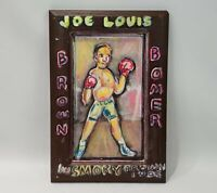 Grandpa Smoky Brown Outsider Folk Art On Wood Panel Boxing Joe Louis