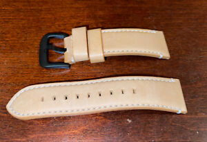 Shinola   24mm Watch Strap Natural Leather With Black PVD Coated Buckle Used