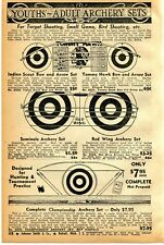 1941 Print Ad Youth Adult Archery Set Indian Scout Tommy Hawk Seminole Bow Arrow