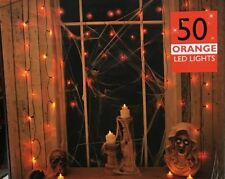 NEW 50 ORANGE HALLOWEEN SPOOKY LED LIGHTS CURTAIN LIGHT WINDOW FUNKY DECORATION