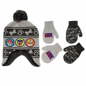 Nickelodeon Little Boys Paw Patrol Hat & 2 Pairs Mittens/Gloves Cold Weather Set