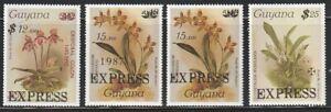 Guyana   1986-87   Sc # E1-4   Orchids   Surcharged  EXPRESS  MNH   (221)