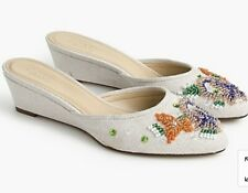 J Crew Collection $198 Women's Blanche Beaded Mini Wedge Mules Shoes 8 New