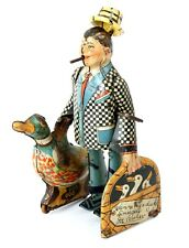 Vtg Marx 1930's Tin Litho Clockwork Windup Joe Penner & His Goo Goo Duck L@@K!!!