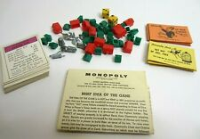 Vtg 1961 Monopoly Game Replacement Parts Pieces Instructions Pawns Cards