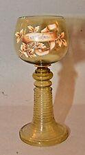 Large Old German Glass Rhine Wine Goblet w/ Enameled Zur Gesundheit To Health