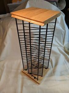 Vertical or Horizontal Black Wire And Wood CD Rack Holds 22 Desktop 17x7""