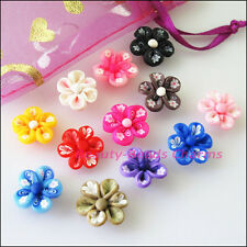 8Pcs Mixed Handmade Polymer Fimo Clay Flower Spacer Beads Charms 15mm