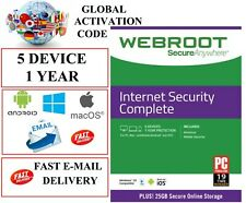 Webroot Internet Security Complete 2020 5 Device 1 Year GLOBAL LICENSE KEY