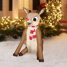4 ft. Rudolph the Red Nosed Reindeer Sitting with Scarf Christmas Inflatable