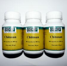 CHITOSAN 3 x 100 Caps 500 mg Quemagrasas Adelgazante Dieta Control de Peso
