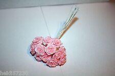Lot de 12 mini roses rose mon pour décoration tulle baptême mariage communion