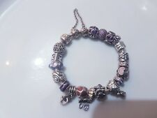 Genuine Pandora Bracelet,19 Charms, Safety Chain, Clasp Opener, Silver, Purples