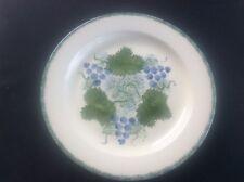 "Rare Poole Pottery Dinner Salad Plate Spongeware Grapes / Vines Hand Painted 9"""