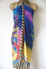 Women's Sarong Blue Multi colour Sun Print Cover up Beach Holiday 146cm x 102cm
