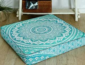 """35"""" Indien Square Mandala Ottoman Case Cushion Floor Pillow Seating Cover Pouf"""