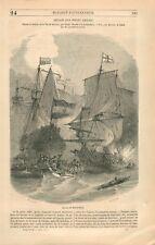 Bataille Navale Amiral Michiel de Ruyter Dessin de Morel-Fatio par GRAVURE 1849