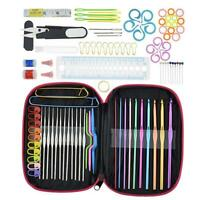 100pc DIY Aluminum Crochet Hooks Sweater Knit Weave Craft Sewing Needles Set Kit