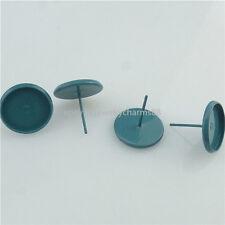 50PCS Tray Setting Holder 12mm Cameo Blue Stud Earring Ear Stud Pin Badge Brooch