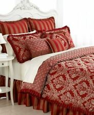 "Waterford Bryanne Banbury Charlemont King Bed Skirt Red Gold Stripe 16"" Drop"