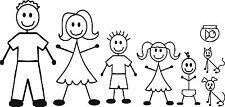 Full set Stickman Family Members Nr.2 ,Car,Bike,Stickers,Selfadhesive,Graphics