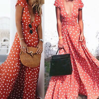 Women's'  Boho Long Maxi Party Cocktail Beach Dress Sundress Deep V Neck BEST