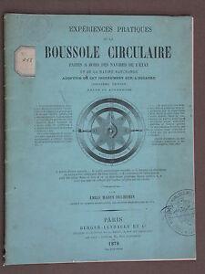 Expériences pratiques de la Boussole Circulaire Duchemin 1878 Marine navigation