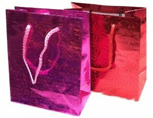 10 PCS Sparkling Paper Party Pink Red Gift Handles Christmas Birthday Bags
