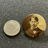 Vintage Young Man Mourning Memorial Photo Button Pin Pinback #38745