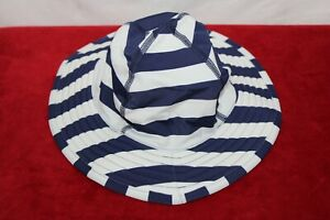 Hanna Andersson Baby Sunblock Swim Hat Ages 1-3 Years Size S Stripe Blue/White