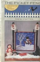 "The Picket Fence - Calendar Series Quilt block pattern ""Snow S'Mitten"" January"