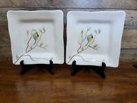 "Set of 2 Pier 1 Robin 8"" Hand-painted Earthenware Square Salad/Dessert Plates"