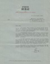HERGE Lettre signée à Jean Fondin, collaborateur au journal de Tintin. 1964