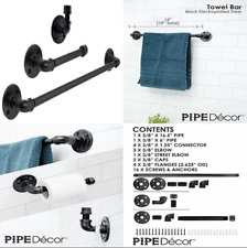 Industrial Pipe Bathroom Hardware Fixture Set By Decor 3 PC Kit