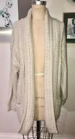 ESCADA*BEIGE WOOL MOHAIR ANGORA CHUNKY CABLE KNIT COZY CARDIGAN WRAP SWEATER*36