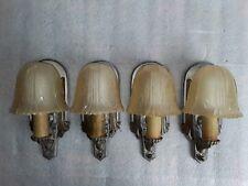 4 matching Art Deco Slip Shade WALL SCONCES LIGHT FIXTURES antique Set #2