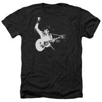 Elvis Presley BLACK&WHITE GUITARMAN Licensed Adult Heather T-Shirt All Sizes